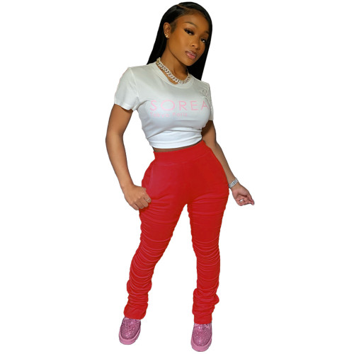Red Stacked Pants with Pockets XS-2XL