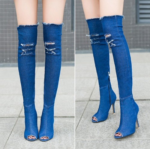 Stylish Ripped Denim High Heel Over the Knee Boots