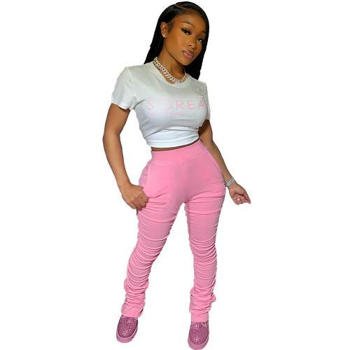 Pink Stacked Pants with Pockets XS-2XL