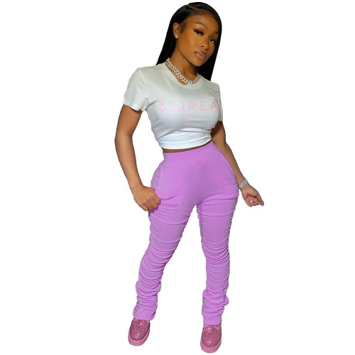Lilac Stacked Pants with Pockets XS-2XL