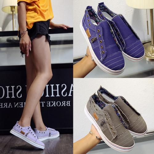 Fashion Zipper Trim Canvas Shoes for Women