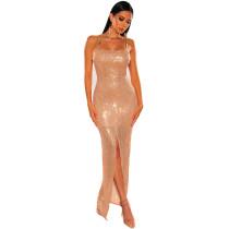 Sequin Gold Slit Front Cami Evening Dress