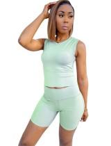 Green Sleeveless Top & Shorts