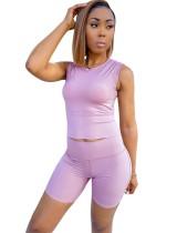 Lilac Sleeveless Two Piece Shorts Set