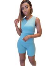 Light Blue Sleeveless Two Piece Shorts Set