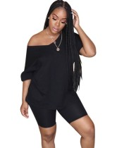 Black V-Neck Casual Top &  Shorts