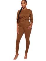 Brown Boat Neck Casual Top & Pocket Pants