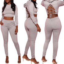 Light Gray Lace-up Hoodie Crop Top and Pants