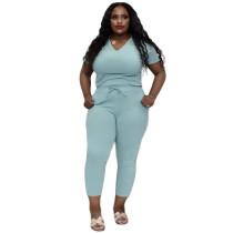 Plus Size Mint Green V Neck Two Piece Pants Set