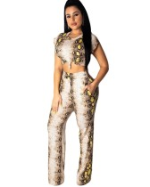 Snake Print Crop Top and Pocket Pants Set