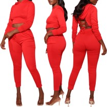 Red Crisscross Back Hoodie Crop Top and Pants