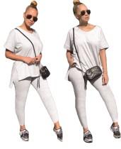 Light Gray Slit Casual Top & Pants