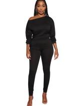 Black Long Sleeve Casual Top & Pocket Pants