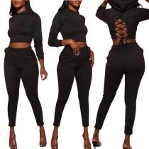 Black Lace-up Hoodie Crop Top and Pants