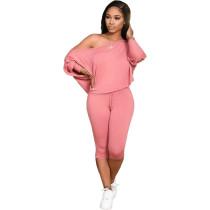 Plus Size Pink Skew Neck Two Piece Pants Set