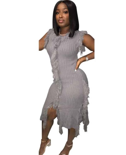Gray Tassel Sleeveless Knitted Sweater Dress