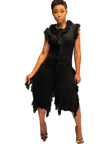 Black Tassel Sleeveless Knitted Sweater Dress