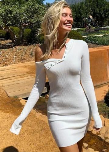 White Long Sleeve Skew Neck Knitted Mini Dress