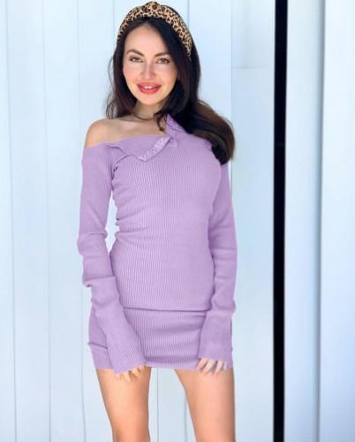 Purple Long Sleeve Skew Neck Knitted Mini Dress