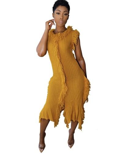 Yellow Tassel Sleeveless Knitted Sweater Dress