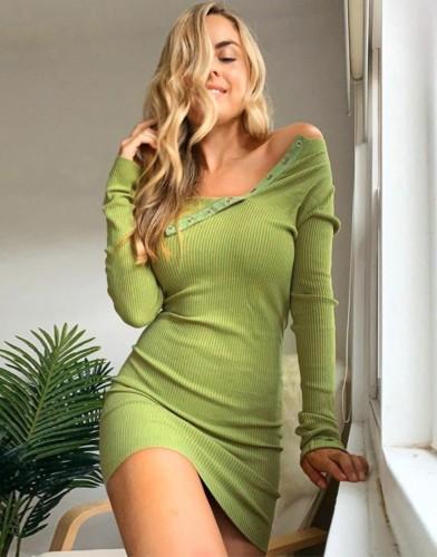 Green Long Sleeve Skew Neck Knitted Mini Dress