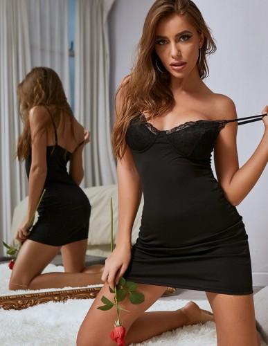 Sexy Black Strap Night Gown