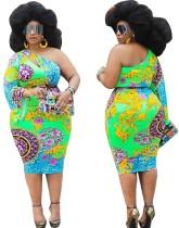 Plus Size One Shoulder Bell Sleeve Midi Dress