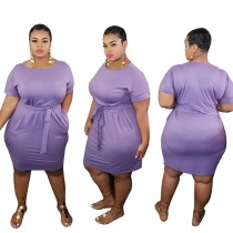 Plus Size Solid Belted T Shirt Dress