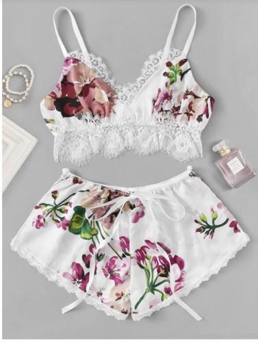 Floral Top and Shorts Pajamas Set