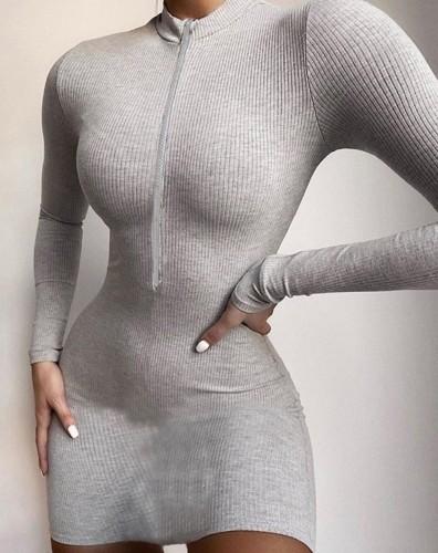 Solid Long Sleeve Zip Up Curvy Dress