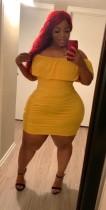 Off Shoulder Yellow Ruffle Bodycon Plus Size Dress