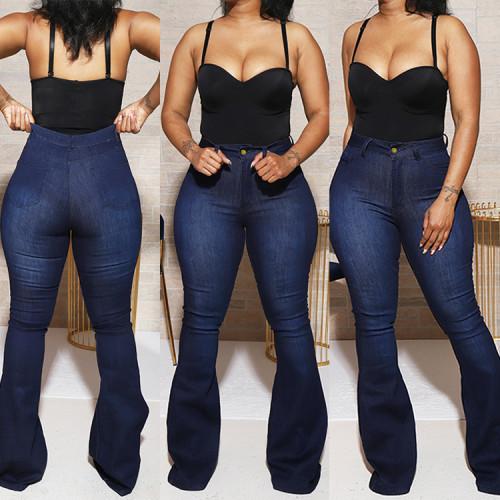 Plus Size Dark Blue High Waist Flare Jeans