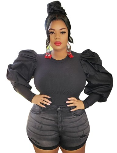 Black Ribbed Puff Sleeve Plus Size Top