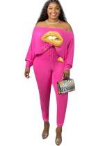 Plus Size Lip Print Pink Loose T-Shirt and Tight Pants Set