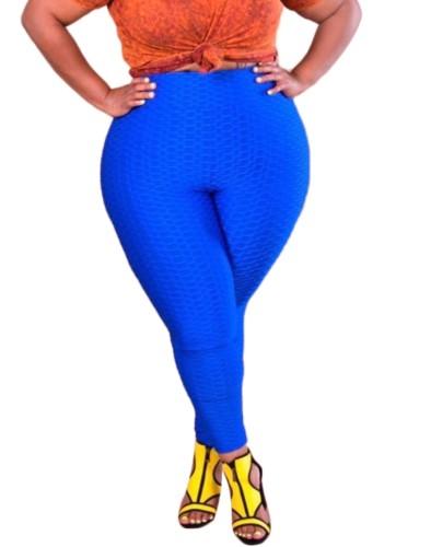 Plus Size Blue High Waist Pencil Pants
