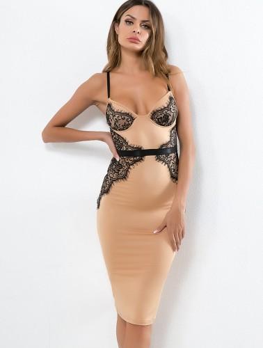 Lace Applique Cami Midi Sleeping Dress