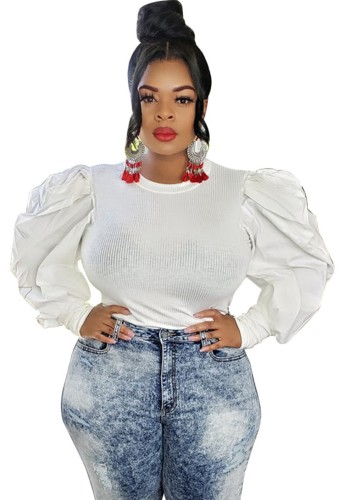 White Ribbed Puff Sleeve Plus Size Top