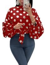 Polka Dott Tie Waist Blouse with Balloon Sleeves