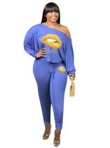 Plus Size Lip Print Blue Loose T-Shirt and Tight Pants Set