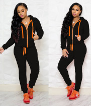 Black Hooded Tracksuit with Contrast Details