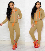 Khaki Hooded Tracksuit with Contrast Details