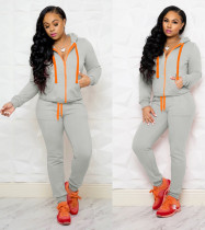 Light Gray Hooded Tracksuit with Contrast Details