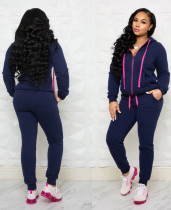 Navy Hooded Tracksuit with Contrast Details