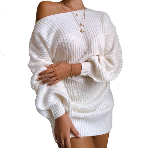 Boat Neck White Bubble Sleeve Sweater Dress