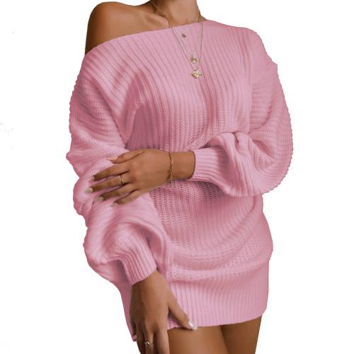 Boat Neck Pink Bubble Sleeve Sweater Dress