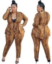 Plus Size Leopard Peplum Blazer and Pants Suit