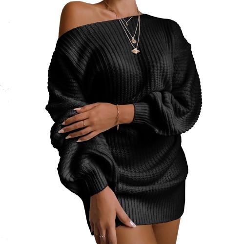 Boat Neck Black Bubble Sleeve Sweater Dress
