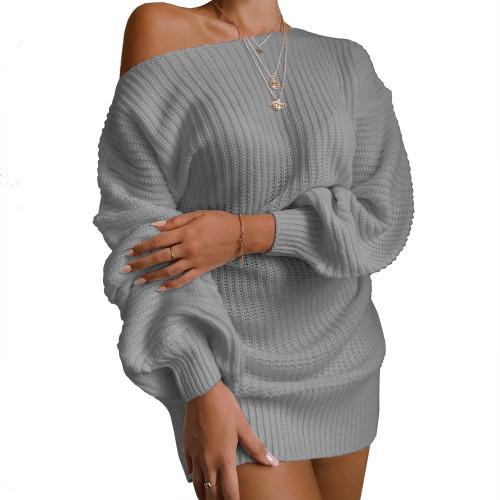 Boat Neck Gray Bubble Sleeve Sweater Dress