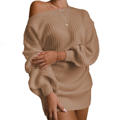 Boat Neck Khaki Bubble Sleeve Sweater Dress