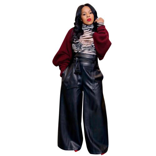 Black PU Leather High Waist Wide Leg Pants